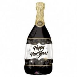 Balon foliowy 36 butelka szampana czarna