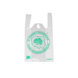 Reklamówka eko biała z zielonym drzewem 30x9x55cm 200 szt.
