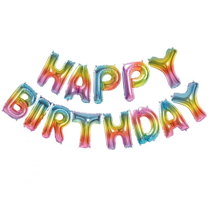 Balon foliowy zestaw liter Happy Birthday tęczowy 35cm