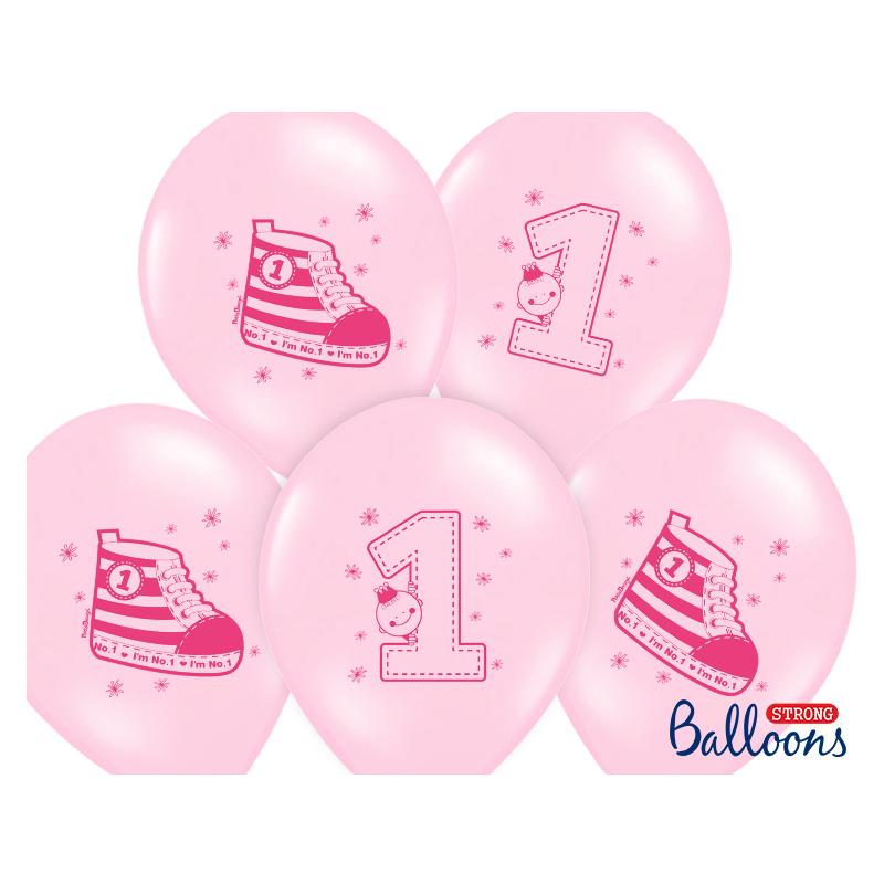 Balon 30cm One pastel baby pink 6szt