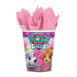 Kubek papierowy Psi Patrol różowy 250ml 8szt