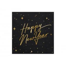 Serwetka Happy New Year czarna 33x33cm 20szt