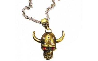 Złoty naszyjnik z czaszką z...