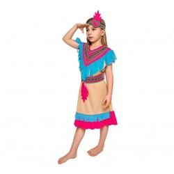 Strój dla dzieci Indianka Różowe Pióro rozm.120/130 cm (sukienka, pasek, opaska)