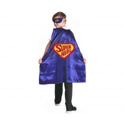 Peleryna dla dzieci Superbohater, satynowa rozm. 110/120 cm (peleryna, maska)