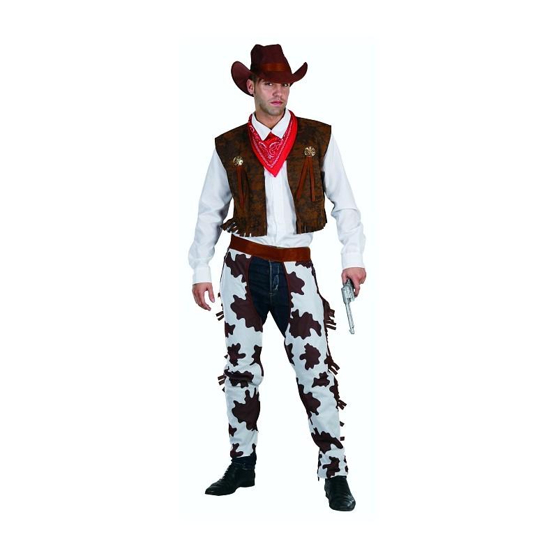 Strój dla dorosłych Kowboj biało brązowy rozm. un (kapelusz, chusta, kamizelka, nakładki na spodnie)