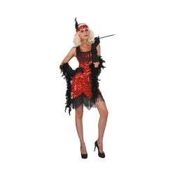 Strój dla dorosłych Kabaret, czerwony rozm. L (sukienka, dekoracja na głowę)