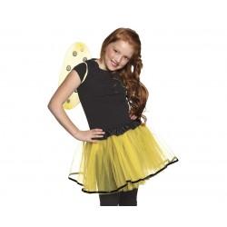 """Zestaw """"Pszczółka"""" roz.120/130cm  (sukienka, skrzydła, opaska, różdżka)"""