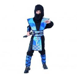 Strój dla dzieci Ninja niebieski rozm. 110/120 cm (kaptur, bluza, spodnie, osłony rąk, nóg i ciała)