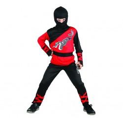 Strój dla dzieci Dragon Ninja rozm. 120/130 cm (bluzka, spodnie. kaptur, nakładki na ręce, pas)