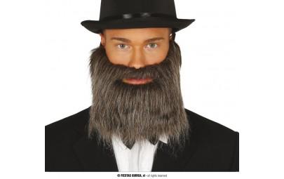Broda z wąsami szara