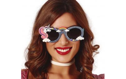 Okulary z brokatem jednorożec