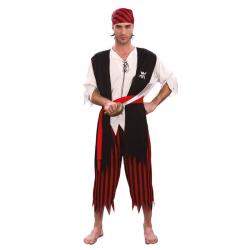 Strój dla dorosłych Pirat rozm. L (koszula z doszytą kamizelką, pasek, spodnie, chusta na głowę)