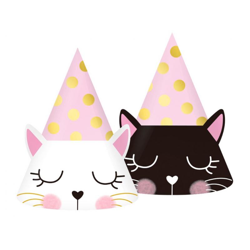 Czapeczki papierowe kotek 6szt
