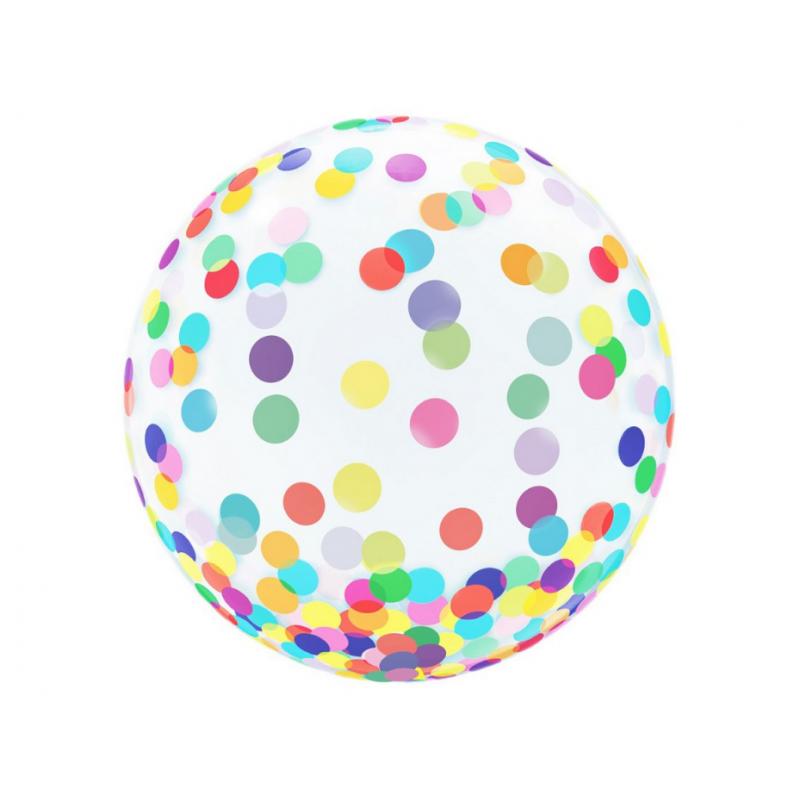 """Balon 18"""" kryształowy ,kolorowe grochy"""