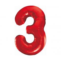 """Balon foliowy 36""""cyfra 3 czerwona 85cm"""