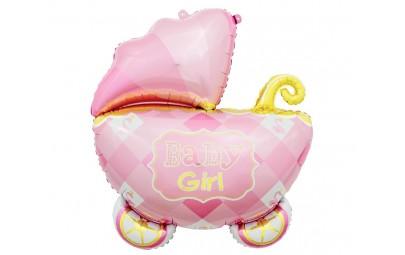 Balon foliowy Wózek różowy...