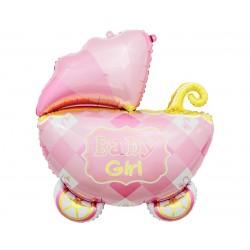 Balon foliowy Wózek różowy 60cm
