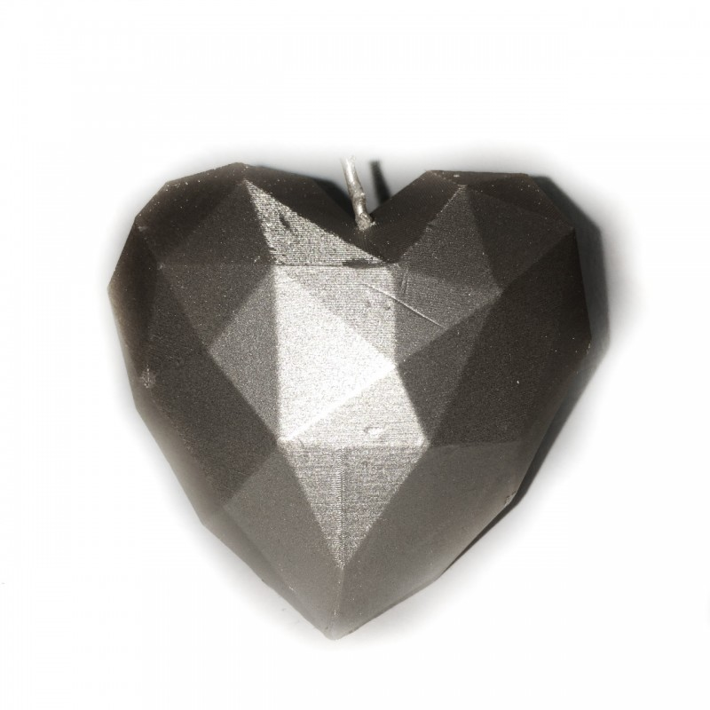 Świeca serce srebrny metalik 78x80x90mm