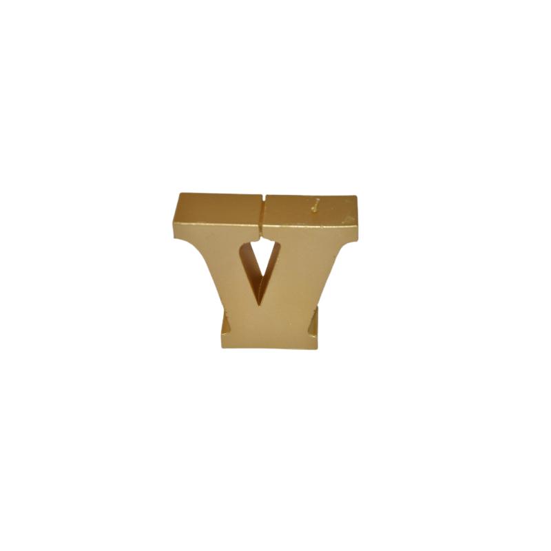 Świeca litera V złoty metalik 121x112x37mm 239g