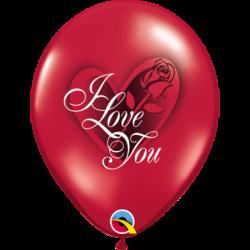 Balon 11 czerwony z różą I...