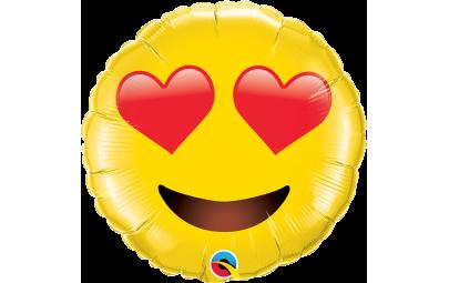 """Balon foliowy 28"""" Uśmiechnięta twarz z sercami"""
