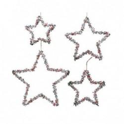 Ozdoba na choinkę metalowa gwiazda z jagodami czerwono biała 38x0,5cm