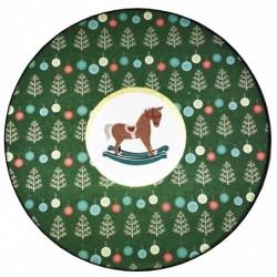 """Pudełko ozdobne okrągłe rozmiar M """"konik na biegunach"""" zielone"""