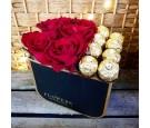 Flowerbox - czerwone róże - ferrero rocher
