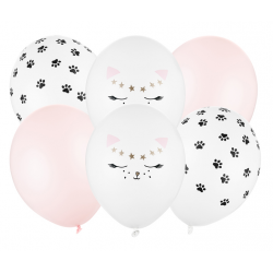 Zestaw balonów 30cm Kotek 6szt