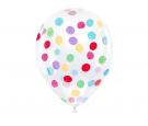 Balon 30cm przezroczysty z konfetti kolorowym 6 szt.