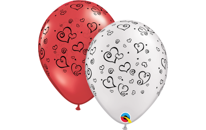 Balon 11 czerwony w serca...