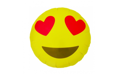 Balon foliowy emoticon heart eyes round 18'