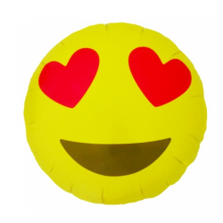 Balon foliowy emoticon heart eyes round 18'