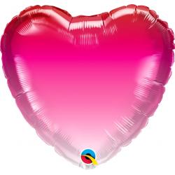 Balon serce różowe ombre 18'