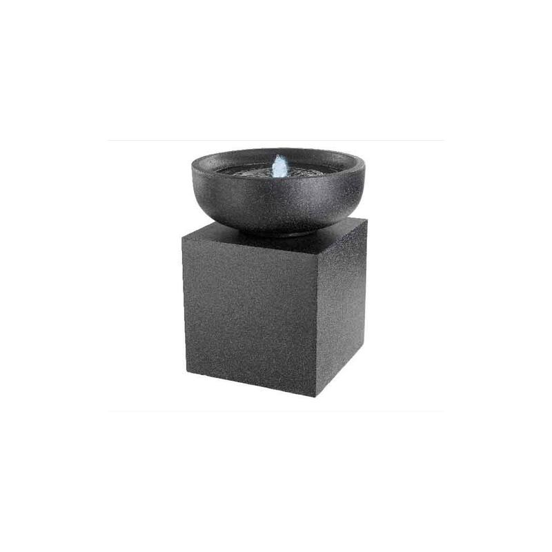 Fontanna misa na kolumnie czarna z podświetleniem led 48x59cm