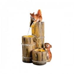 Fontanna led drewniane beczki z wiewiórkami