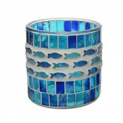 Świecznik szklany okrągły mozaika niebieski 10cm