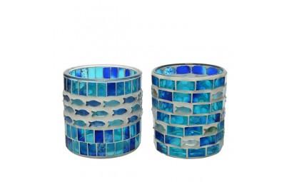Świecznik szklany okrągły mozaika 2 wzory