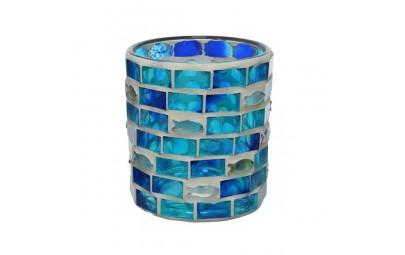 Świecznik szklany okrągły mozaika zdj3