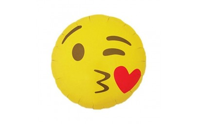 Balon foliowy emoticon kissing heart round 18'