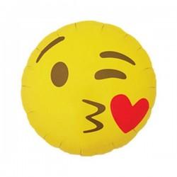 Balon foliowy emoticon kissing heart round 18'