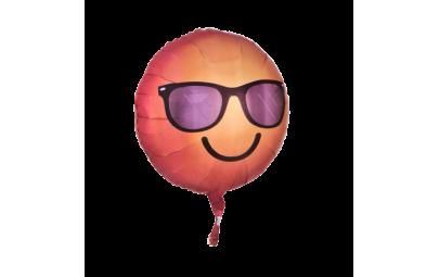 """Balon foliowy 18""""Emoticon uśmiechnięty w okularach"""