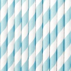Rurki papierowe w paski 19,5cm błękitne 10 szt.