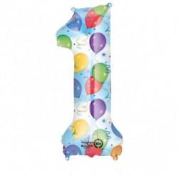 Balon foliowy 34 cyfra 1 kolorowa