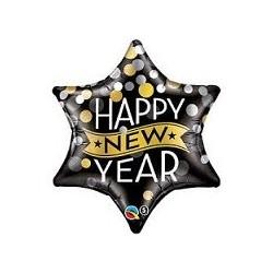 Balon foliowy 22 New Year kropki i konfetti czarne