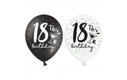 Balon 30cm 18 Birthday mix 6szt