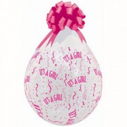 "Balon 18 diamond clear it""s a girl różowe 25szt"