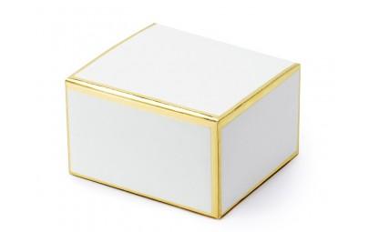 Pudełeczko dla gości białe z ramką złotą