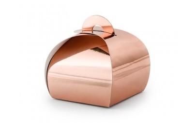 Pudełeczko dla gości różowe złoto 6x6x5,5cm 10 szt.